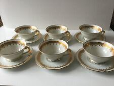 6 tasses à thé / café en porcelaine de Limoges, décor LEC, blanc et or