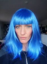 Bright Blue Synthetic Hair Katie Perry Wig with Fringe Full Cap Medium Length