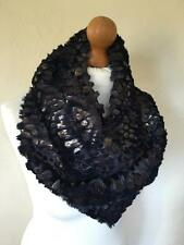 LADIES SNOOD SCARF COWL NAVY BLUE GOLD BRONZE SNAKESKIN ANIMAL WINTER GIFT IDEA