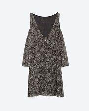 ZARA abito donna corto  spalle scoperte microfantasia colore nero TG S