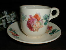 Scio Pottery USA Floral Multicolored ROSE Oversized Cup Saucer