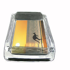 "Kangaroo Glass Ashtray D1 4""x3"" Jack Australian Marsupial Joey Wallaby"
