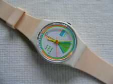 1989 Ladies swatch watch Greengo LW124 white band