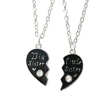 """2PCS """"Big Sister""""&""""Little Sister"""" Crystal Heart Necklace Pendant Jewelry Gift RU"""