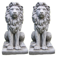 LARGE PROUD LION STATUE PAIR Stone Garden Ornament Patio Home Decor ⧫onefold-uk