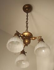 Antique Vtg Art Deco Chandelier Colonial Brass Fluted Fixture 3 Light USA #U76