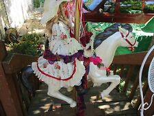 Plastic CAROUSEL HORSE  FULL SIZE Hand Painted with porcelain doll and base