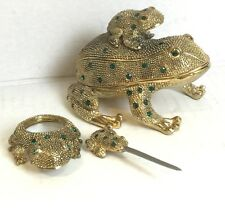 Decorative Jeweled Frog Trinket Box Desk Set w/Letter Opener & Magnifying Lens