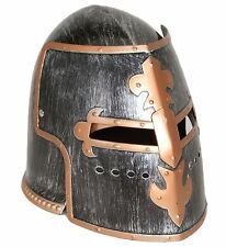 Medieval Knight Men's Antiqued Pewter Knight Helmet, Silver, Adult Jacobson Hat