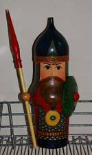 RUSSIAN WARRIOR Matryoshka Nesting DOLL BOTTLE HOLDER Cover Hand Painted 14.5""