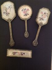 Vintage Regent Of London 1950s Embroidered Dressing Table Set (4 Pieces)