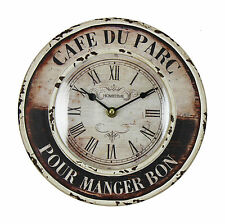 Shabby Chic French Metal Wall Clock Rustic Black & Cream ~ Cafe Du Parc   W7470