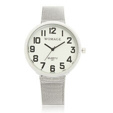 Womage 267 Big Number Display Stainless Steel Mesh Band Women Men Quartz Watch