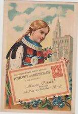 CHROMO ANCIEN MAISON COSTIL/PIANOS/PARIS-JEUNE ALLEMANDE/TRESSES BLONDES/COSTUME