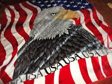 KING SALOMON AMERICAN EAGLE FLAG RED WHITE BLUE THICK FULL/QUEEN BLANKET 83 X 89
