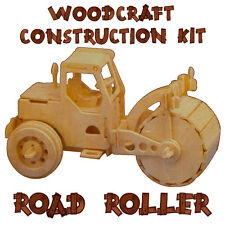 Woodcraft Construction Kit Road Roller 3D Wooden Model Game Building Puzzle Toy