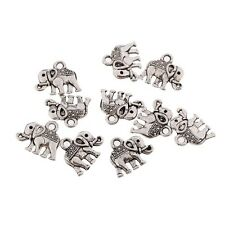 10pcs Tibetan Lovely Elephant Shape Silver Bead Charms Pendants fit DIY