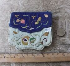 "Antique Chinese Silk Hand Embroidered Card Case (?), Purse c1890-1900~4""Square"