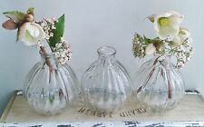 3 x shabby chic vintage style glass ribbed bud vases diffuser for home wedding