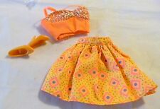 BARBIE DOLL PINK TAG BRIGHT ORANGE BRA TOP & FLURRY SKIRT + SHOES