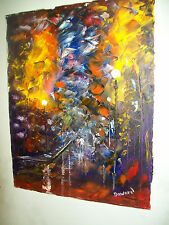 ORIGINAL 16x20 Canvas Walk in the rain oil modern signed art painting