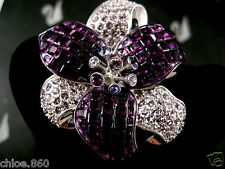 SIGNED SWAROVSKI  AMETHYST CRYSTAL FLOWER  PIN ~ BROOCH RETIRED NEW
