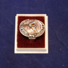 Beautiful 9.25 Silver Ring With Marcasite And Abalone M.O.P.5.3 Gr.2.6x2 Cm Wide