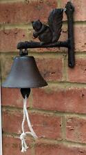 Cast Iron Squirrel Front Doorbell Door Bell Gate Garden Ornament Wall Metal New