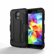 For Samsung Galaxy S5 Active G870 Hard Black Silicone Box Case Belt Clip Stand