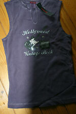 Hank made in Hollywood cotton vest Tshirt Vintage Rock size Large crystals