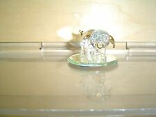 Glass Pig Figurine  On Mirror Base
