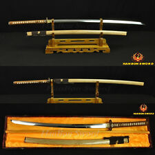 JAPANESE SAMURAI SWORD KATANA CLAY TEMPERED BLADE WITH HAZUYA POLISH FULL TANG
