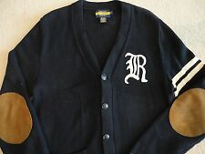 Rare RALPH LAUREN RUGBY Navy Cotton Letterman Varsity Cardigan Sweater Polo RRL