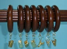 Mahogany Wood Clip Rings!!  7 Per Package!! By Kirsch! FREE SHIPPING!!!