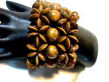 Wood flower design Stretch Bracelet