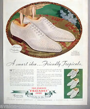 "Jarman ""Friendly"" Shoes PRINT AD - 1935 ~~ white calf-leather ventilated shoe"