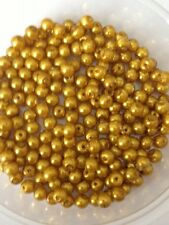 4mm Glass faux Pearls - Mustard Yellow (200 beads) [gold]