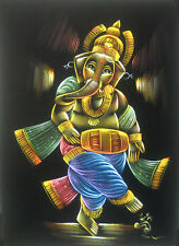 Dancing Ganesha Painting on Velvet Cloth Best Price Home Decor India   20x27""