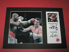 FLOYD MAYWEATHER JR & RICKY HATTON BOXING A4 MOUNT SIGNED REPRINT AUTOGRAPHS