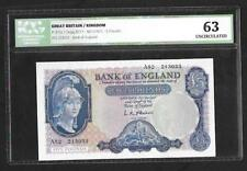 1957  O'BRIEN Helmeted £5 note 1st Series B277 Slabbed 63 Unc  A52 SN9079