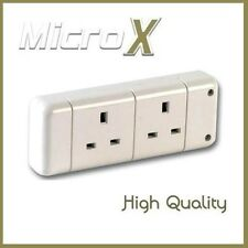 3 x White Trailing Double Electrical UK Mains Extension Socket rewireable 2 Gang