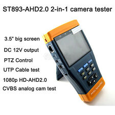 "New ST893 Pro 3.5"" 1080p HD AHD CCTV Camera Tester PTZ 12V Colorbar UTP Cable"