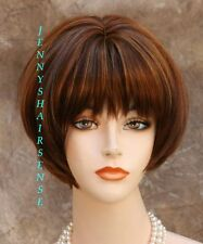 Classy and chic Everyday wig Short Bob w. bangs Blonde auburn mix JSCF 27/30/33