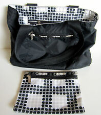 LeSportsac Reversible Tote - Disco Print / Black Print with Matching Diso Pouch