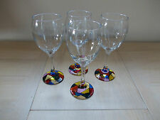 Set x 4 Hand Painted Art Deco Style Wine Glasses, Abstract, Each One Unique.