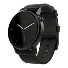 NEW MOTOROLA MOTO 360 2nd Generation Stainless Steel SMART WATCH BLACK LEATHER