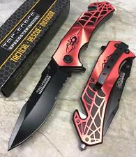 TAC FORCE Spring Assisted  Red Spider WEB Outdoor Tactical Rescue Pocket Knife