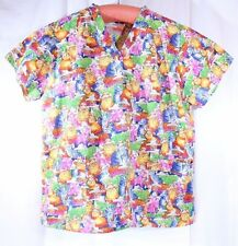Cowboy Cats Size L See Measurement Scrub Top Fun Bright Cats in Hats