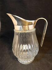 VTG Silverplate ITALY Heavy Ribbed Glass Beverage Pitcher w/Ice Lip EUC