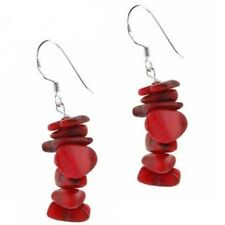 Sterling Silver Red Sea Bamboo Coral Chip Earrings